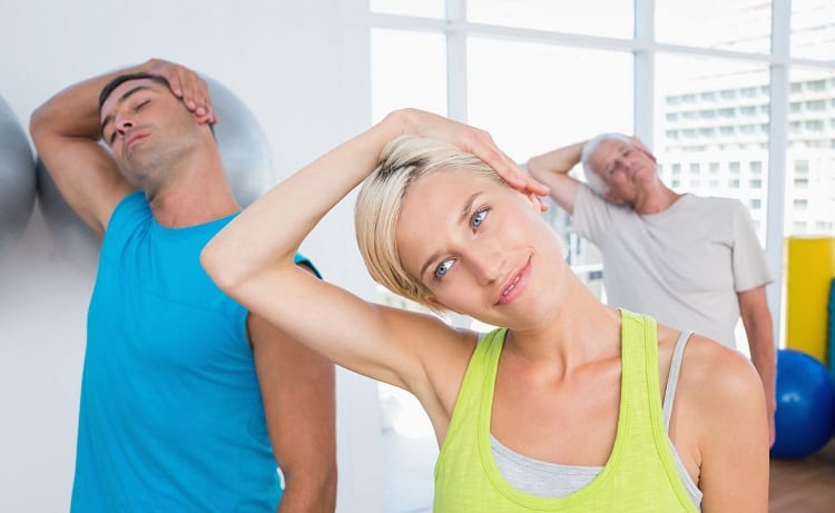 people doing Neck exercise for hair growth